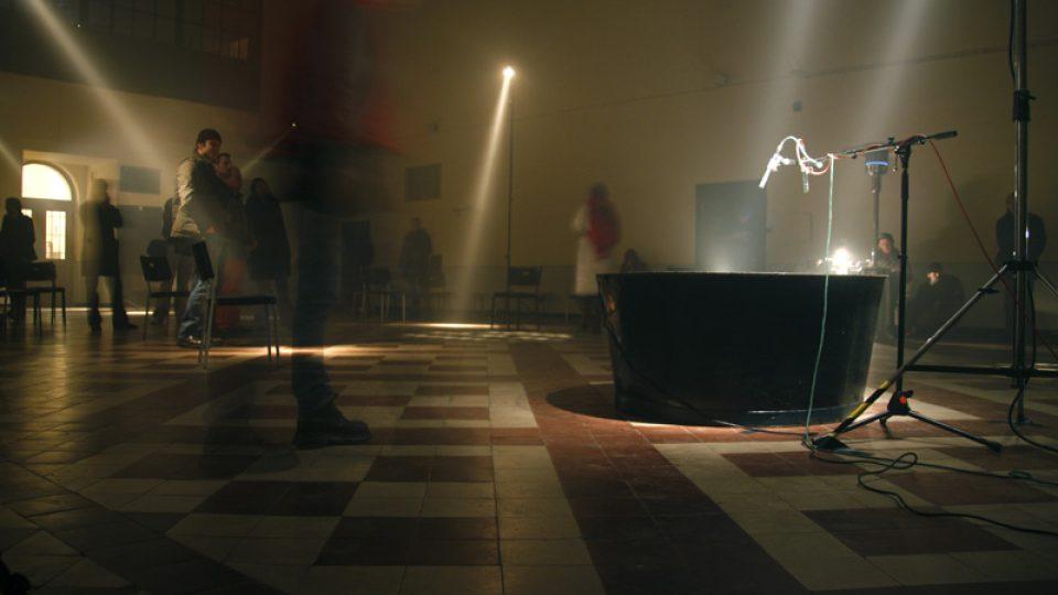 Site-specific installation at the former sewage cleaning station. copyrihgt: Eva Koncalova, Zipp - deutsch-tschechische Kulturprojekte, eine Initiative der Kulturstfitung des Bundes, 2009