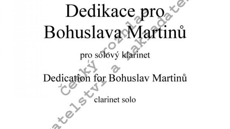 Jiří Hlaváč - Dedikace pro Bohuslava Martinů